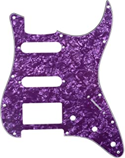 Musiclily HSS 11 Holes Strat Electric Guitar Pickguard for Fender US/Mexico Made Standard Stratocaster Modern Style Guitar Parts,4Ply Pearl Purple