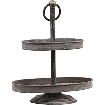 Two Tier Round Slate Stone and Chromed Metal Country Farmhouse Serving Tray