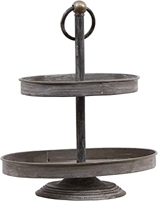 Creative Co-op Decorative Metal Oval Two Tier Tray with Rustic Copper Finish