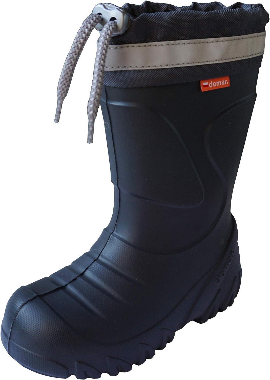 Demar Toddlers Little Kids Boys Girls 2-10yrs EVA-Foam Wellies Rain Boots Warm Wool-Lined Lightweight Unisex Children Wellington Boots