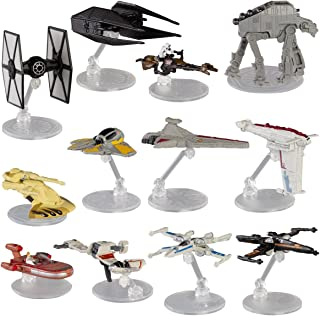 Hot Wheels Star Wars (12 Pack) Spaceship Models Toys Set Figures & Stands Mattel (Assortment F)