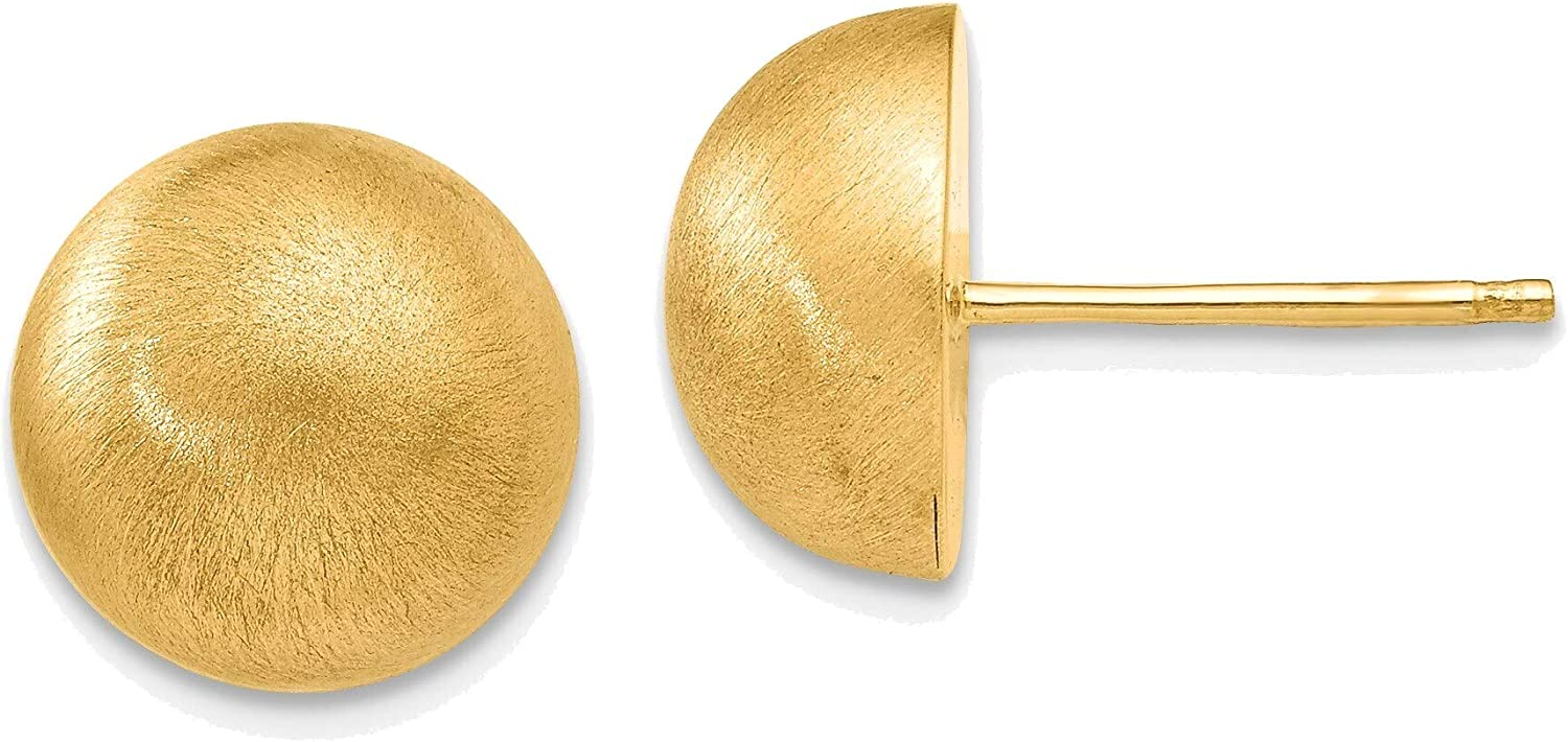 Hollow Satin 10.50mm Half Ball Post Earrings in 14K Yellow Gold