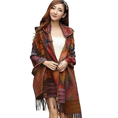 7fa2271537 Ancia Winter Womens Vintage Hooded Cloak Cape Bohemian Fringed Plaid Shawl