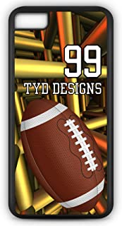 iPhone 8 Football Case Fits iPhone 8 or iPhone 7 Make Your Own Design Tough Cell Phone Case with Any Jersey Number Team Name in Black Rubber Black Plastic F1074 by TYD Designs