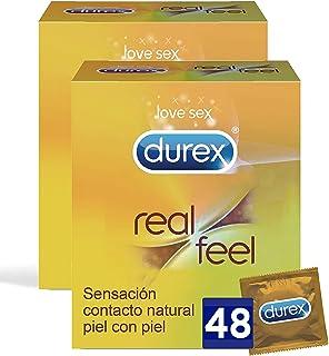 Durex Preservativos Real Feel, condones Sensitivos sin Latex - 48 unidades