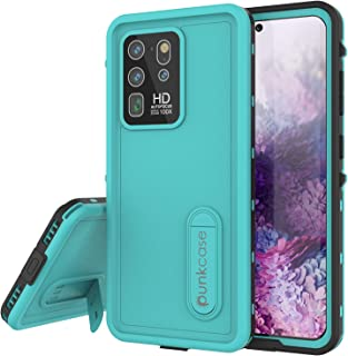 """PunkCase Galaxy S20 Ultra Waterproof Case [KickStud Series] [Slim Fit] [IP68 Certified] [Shockproof] Armor Cover W/Built-in Kickstand + Screen Protector for Galaxy S20 Ultra (6.9"""") turquoise"""