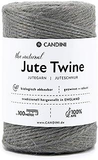 Candini Jutegarn - silber grau, 100m Bastelschnur - ø 2-3mm reine Jute - Schnur Kordel | Premium Qualität - Made in England - Paketschnur, Dekoration, Garten, Verpackung