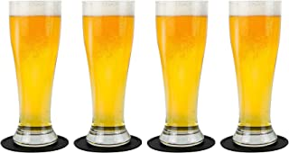 Nucleated Pilsner Craft Beer Glasses Set, Brimley 16oz Beer Set of 4 with Silicone Coasters