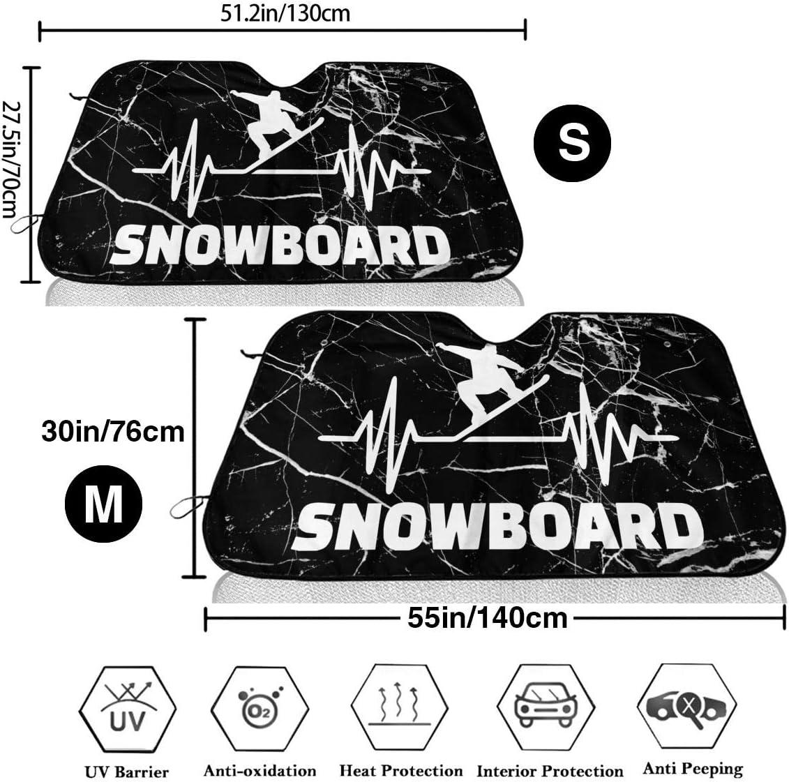 BAG9S-G1 Heartbeat Snowboarder Front Car Sunshade Windshield Foldable Sun Visor for Car SUV Trucks Minivans Sunshades Cools Vehicle Interior