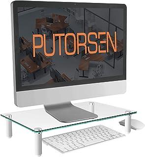 PUTORSEN® Soporte de Monitor pc - Elevador de Monitor 8cm de Altura para Laptop Ordenador PC Impresora Soporte Vidrio ...