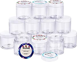 Empty 15 Pack 6 oz Slime Containers with Water-Tight Lids, Plastic Storage Jars with Stickers for Slime Making, Food, Beau...