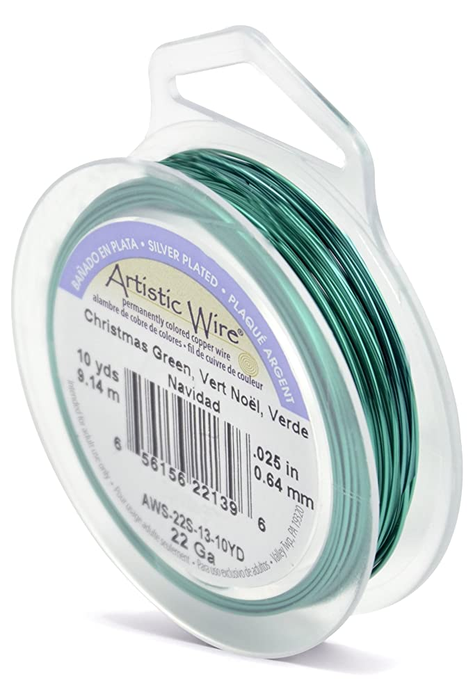 Beadalon Artistic Wire 22-Gauge Silver Plated Christmas Green Wire, 10-Yards