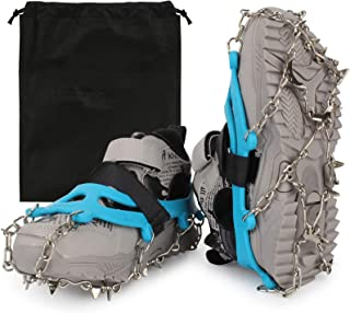 QQAQQ Ice Cleats for Kids - Snow Grips with 14 Stainless Steel Spikes, Anti Slip Traction Grippers for Boys and Girls Boot...