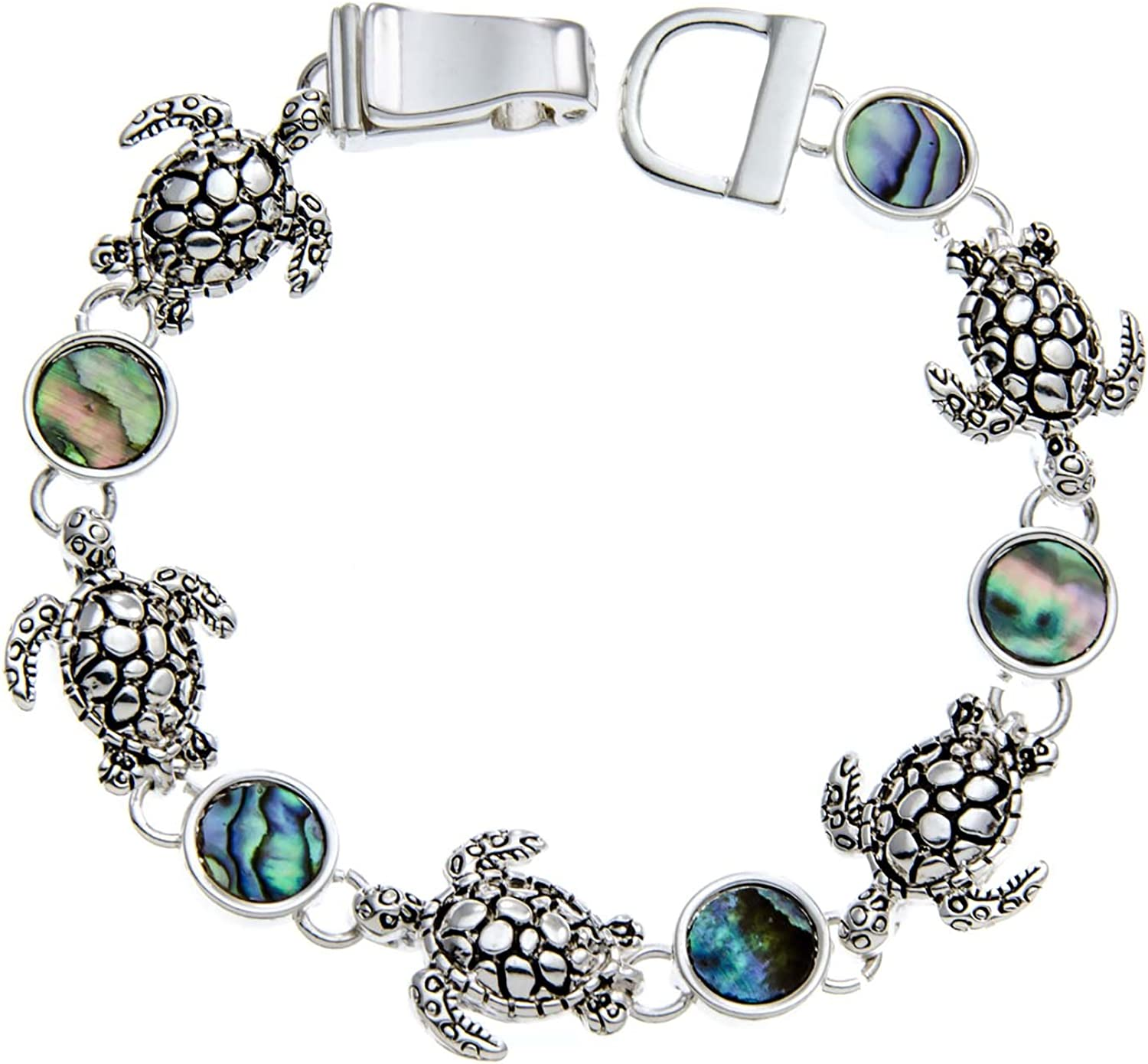 PammyJ Silgreenone Turtle Charms and Abalone Bracelet with Magnetic Closure