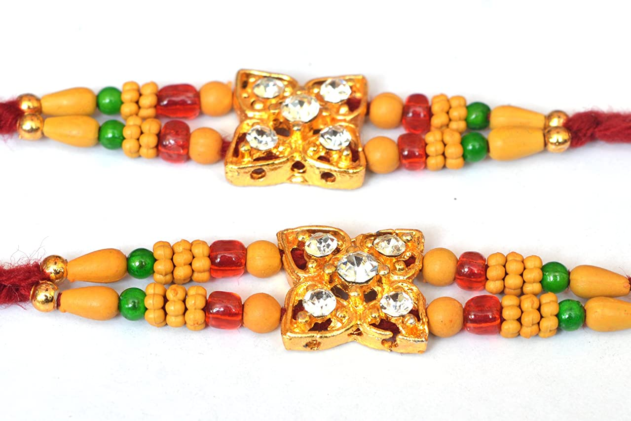 Rakhi Set of Two with Big Star Shape Daimond and Four red Color beed with Marron Color Thread Design, Raksha bandhan Rakhi for Brother