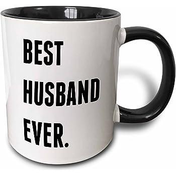 3dRose Best Husband Ever, Lettering Background Two Tone Mug, 11 oz, Black/White