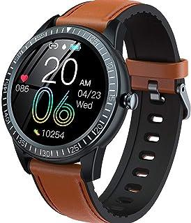 YP Bluetooth 4.0 Reloj Inteligente,Pulsera Actividad con Pulsómetro Mujer Hombre,Monitor de Actividad Deportiva,Ritmo Cardíaco,Impermeable IP67,Reloj Fitness,smartwatch con Podómetro,Marrón