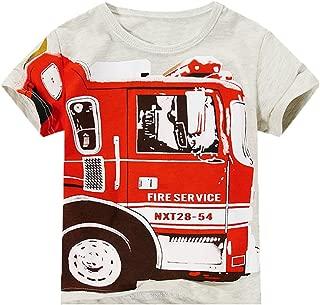 Baby Boys Short Sleeves White Tee Firetruck Tee 1-6T