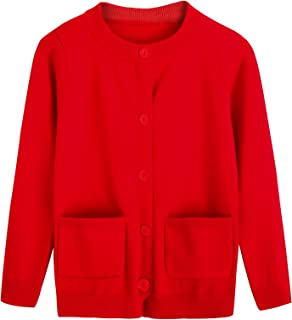 RJXDLT Girl's Knit Cardigan Little Girls Uniform Long Sleeve Button Sweaters Pocket