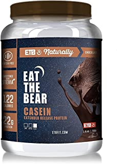 Eat The Bear Natural Micellar Casein Protein Powder, Extended Release Muscle Recovery Post Workout Supplement Protein Shake Powder with Amino Acids 1.6 lbs (Chocolate)