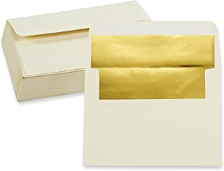 50 Pieces A7 Invitation Envelopes - Gold Foiled Lined Envelopes- Perfect for Weddings, Graduations, Birthday Invitations - 120gsm, Ivory Outside, Gold Inside, 120 GSM Envelopes, 5 x 7 Inches