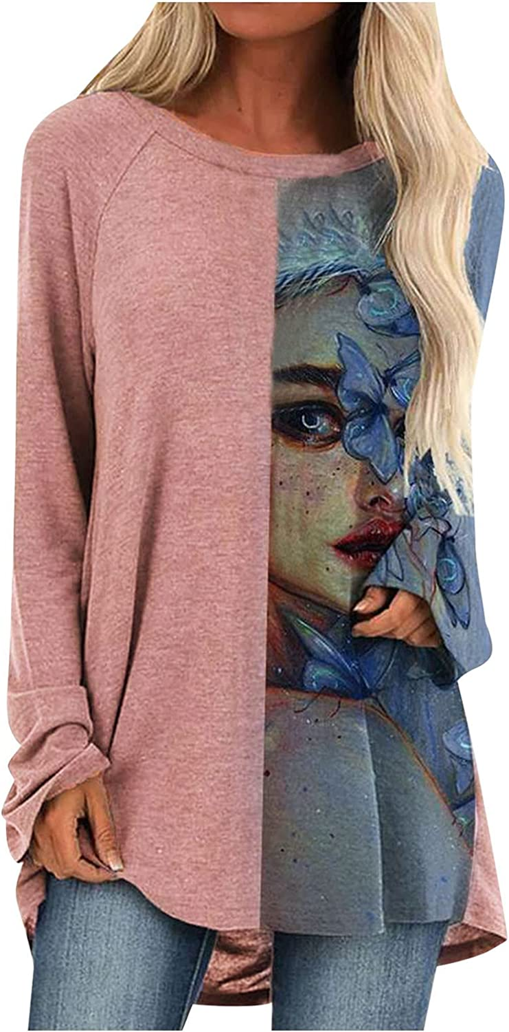 Womens Long Sleeve Tunics Tops Wear with Leggings, Round Neck Vintage Printed Sweatshirt Casual Loose Blouses Shirts