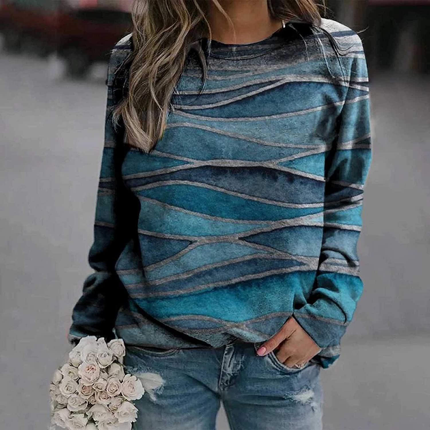 SPOORYYO Sweatshirts for Womens, Women's Casual Shirts Long Sleeve Tops Graphic Crew Neck Loose Soft Fall Blouses Tunics