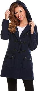 ELESOL Women's Hoodie Plus Size Jacket Wool Blend Duffle Toggle Pea Coat