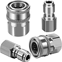 Mudder 2 Sets G 3/8 Inch Stainless Steel Quick Connector Kit Male and Female Pressure Washer Adapters