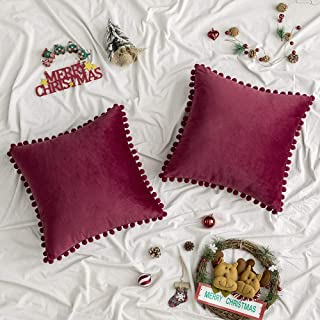 Best Woaboy Pack of 2 Velvet Throw Pillow Covers Pompom Decorative Christmas Pillowcases Solid Soft Cushion Covers with Poms Square for Couch Sofa Bedroom Car 20x20inch 50x50cm Wine Red Review