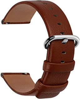 12 Colors for Quick Release Leather Watch Band, Fullmosa Uli Genuine Leather Watch Strap with Silver or Gold Buckle 18mm, 20mm, 22mm or 24mm (Choose The Proper Size)