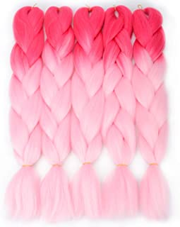 VCKOVCKO Ombre Bright Cool Color Jumbo Braiding Hair Extension Synthetic Kanekalon Fiber for Twist Braiding Hair,2 Tone Kanekalon Jumbo Box Braiding Hair 24
