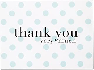 Baby Shower Thank You Cards for Baby Boy - 36 Blue Polka Dot Blank Note Cards with White Envelopes (Baby Blue)