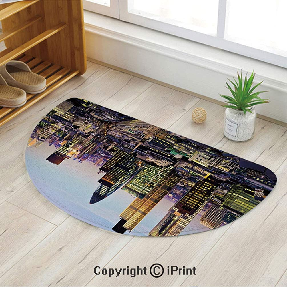 LEFEDZYLJHGO Half Circle Mat for Front Door Inside Floor Dirt Entrance Rug,Modern Architecture of Downtown London Center of Global Finance Famous Capital City,39