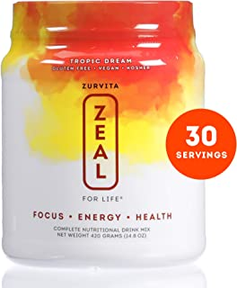 Zurvita Zeal for Life 30 Day Wellness Canister, Tropic Dream, 420 Grams | Nutritious Drink with Vitamin A, C, D, E, B6, and B12