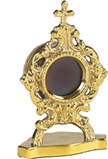 Christian Brands Catholic Personal Reliquary with Round Case 3 1/2 Inch Brass Relic Container