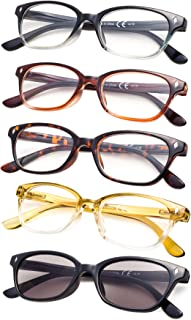 5-pack Vintage Reading Glasses with Spring Hinges Include Sunshine Readers