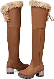 Women Boots Black Brown Zipper Flock Ladies Boots Round Toe Square Heel Over The Knee Boots Big Size,Brown,5