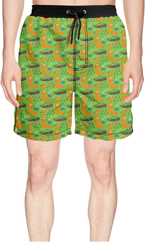 7090b54775 Juliuse Juliuse Juliuse Marthar Men's Dachshund Playing Dog Funny Puppy  Green Swim Trunks Quick Dry Beach Board Shorts ee79d8