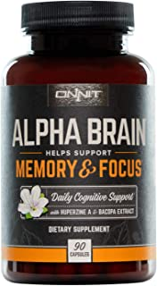 ONNIT Alpha Brain (90ct) - Over 1 Million Bottles Sold - Premium Nootropic Brain Supplement - Focus, Concentration & Memor...