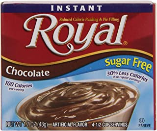 Royal Instant Pudding Dessert Mix, Chocolate Sugar Free and Fat Free (1.69 oz Boxes), Pack of 12