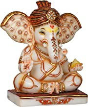 Royal Turbaned Ganesha - White Marble Statue