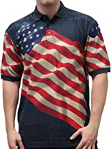 American Summer Original Men's Waving USA Flag Polo Shirt in Navy Blue