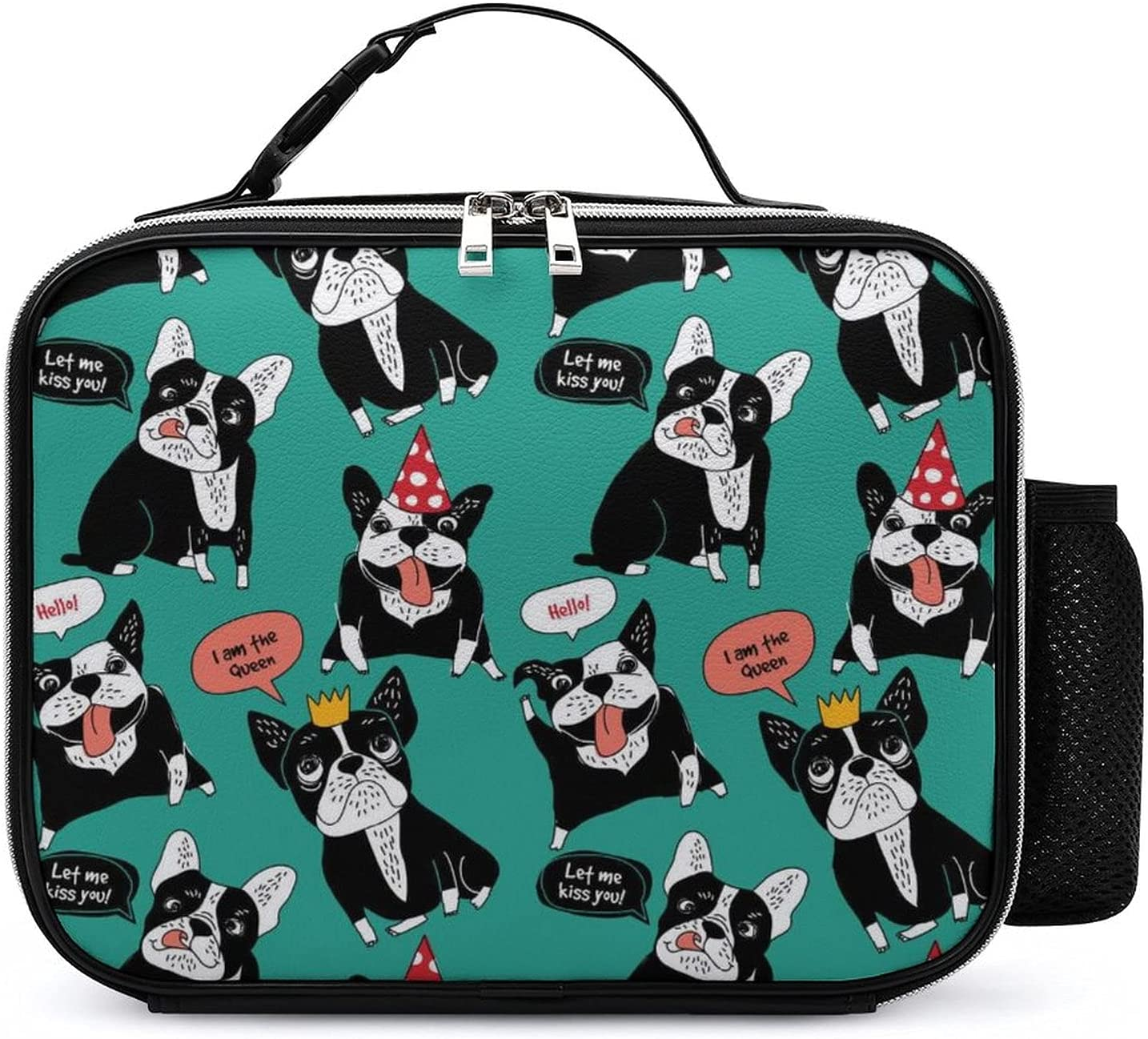Latest item Happy French El Paso Mall Bulldog Lunch Bag Leather Detachable Box Mea Handle
