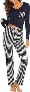 Hotouch Womens Pajama Set Striped Short Sleeve Top & Pants Sleepwear Pjs Sets