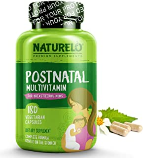 NATURELO Post Natal Multivitamin - Whole Food Postnatal Supplement for Breastfeeding Women - Organic Herbs to Boost Milk Supply - Vitamin D, Folate, Calcium - Best for Nursing Mother & Baby - 180 Capsules