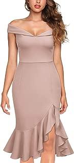 Women's Vintage Off Shoulder V-Neck Evening Party Cocktail Ruffles Slit Formal Dress