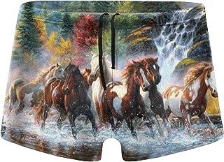 Kuyanasfk Native American Indians Horses Jammer Quick Dry Square Leg Boxer Swimsuit Swimwear for Men