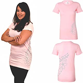 Ori Active Hawaiian Double Plumeria Cotton Women`s Workout T-Shirt with Polynesian Tattoo Design