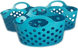 Small Colorful Plastic Basket with Handles for Organizing Pantry Organization and Storage Set of 3 Blue Colored Bendable & Nestable Soft Carry Totes for Shelves Kitchen, Fruit, Toy, Lego Blocks 3 Pack